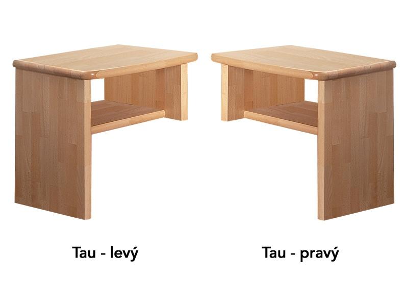 PreSpánok Tau - nočný stolík z buku alebo dubu Dub olejovaný levý 45x40x48 cm