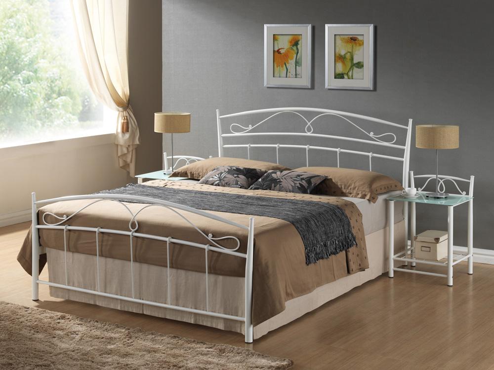 Kovová posteľ SEINA 160, biela