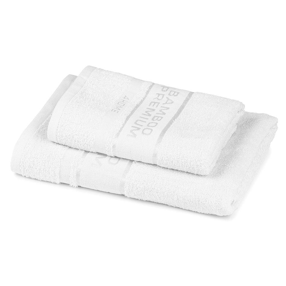 4Home Sada Bamboo Premium osuška a uterák biela, 70 x 140 cm, 50 x 100 cm