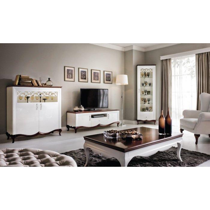 TARANKO MILANO obývacia izba - biely vysoký lesk / mahagón
