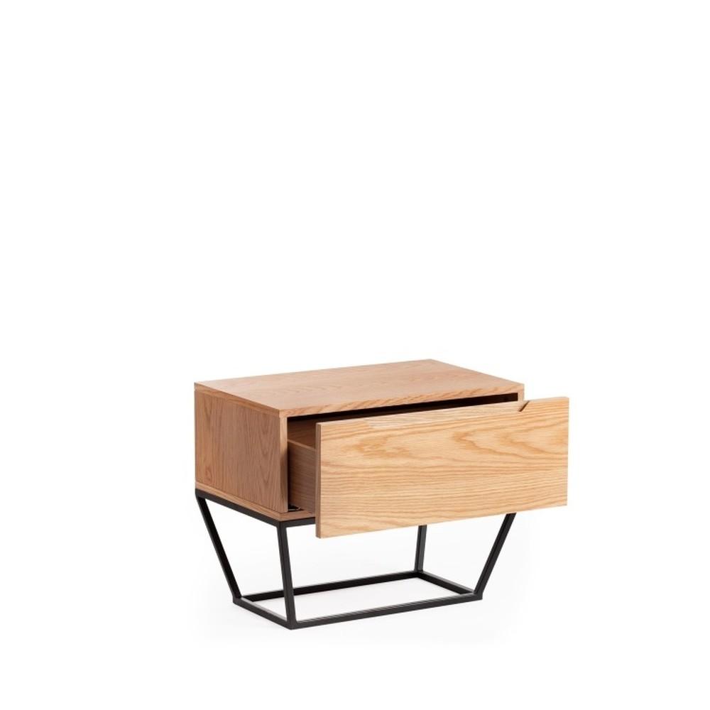 Nočný stolík z dreva a kovu Ángel Cerdá Notio, 60×48 cm