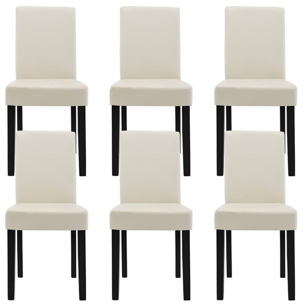 [en.casa]® Štýlové čalúnené stoličky - 6 ks - kremové / bielosivé