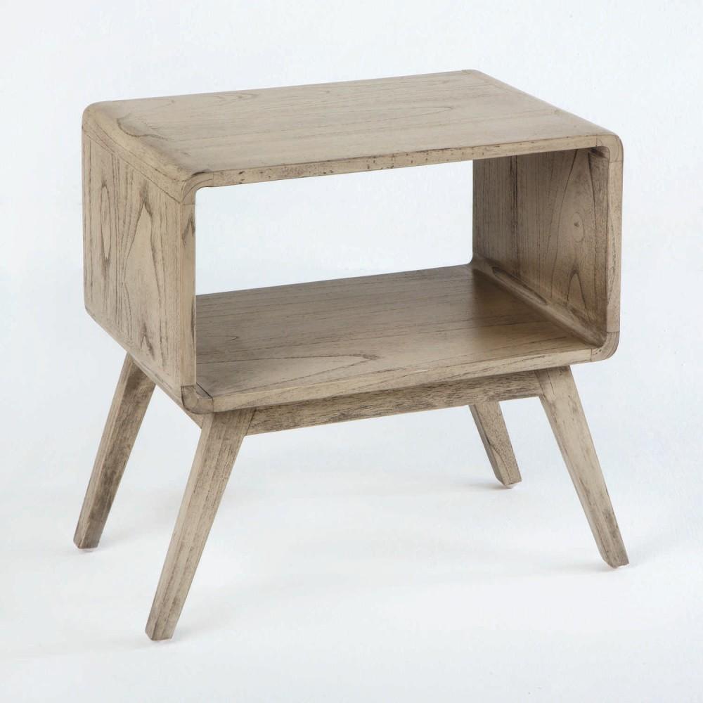 Sivý nočný stôl z lakovaného dreva Thai Natura, 50×51 cm