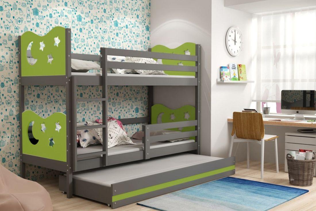 Poschodová posteľ KAMIL 3 + matrac + rošt ZADARMO, 90x200, grafit/zelená