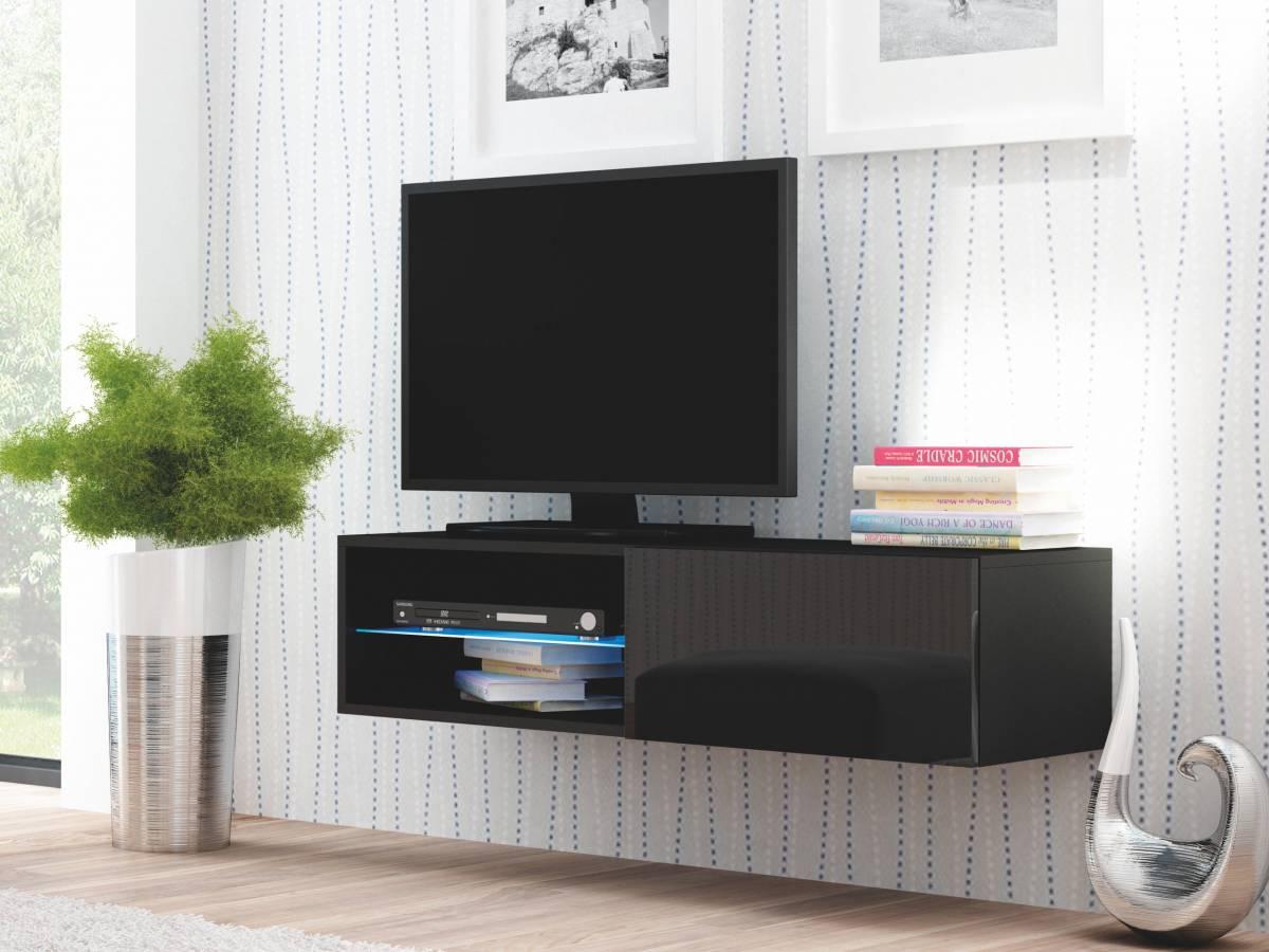 TV stolík/skrinka Livo RTV-120W (čierna + lesk čierny)
