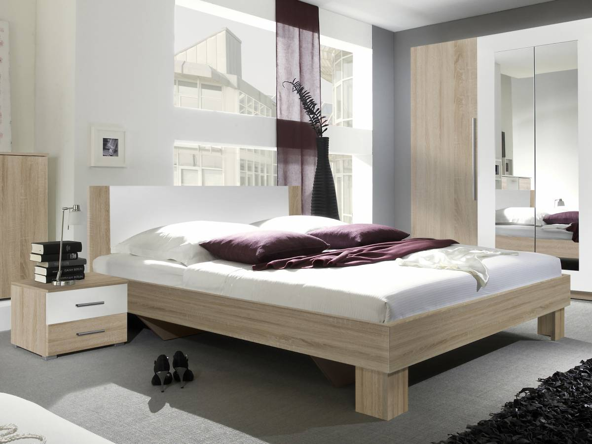 Manželská posteľ 160 cm Typ 51 (sonoma + biela) (s noč. stolíkmi)