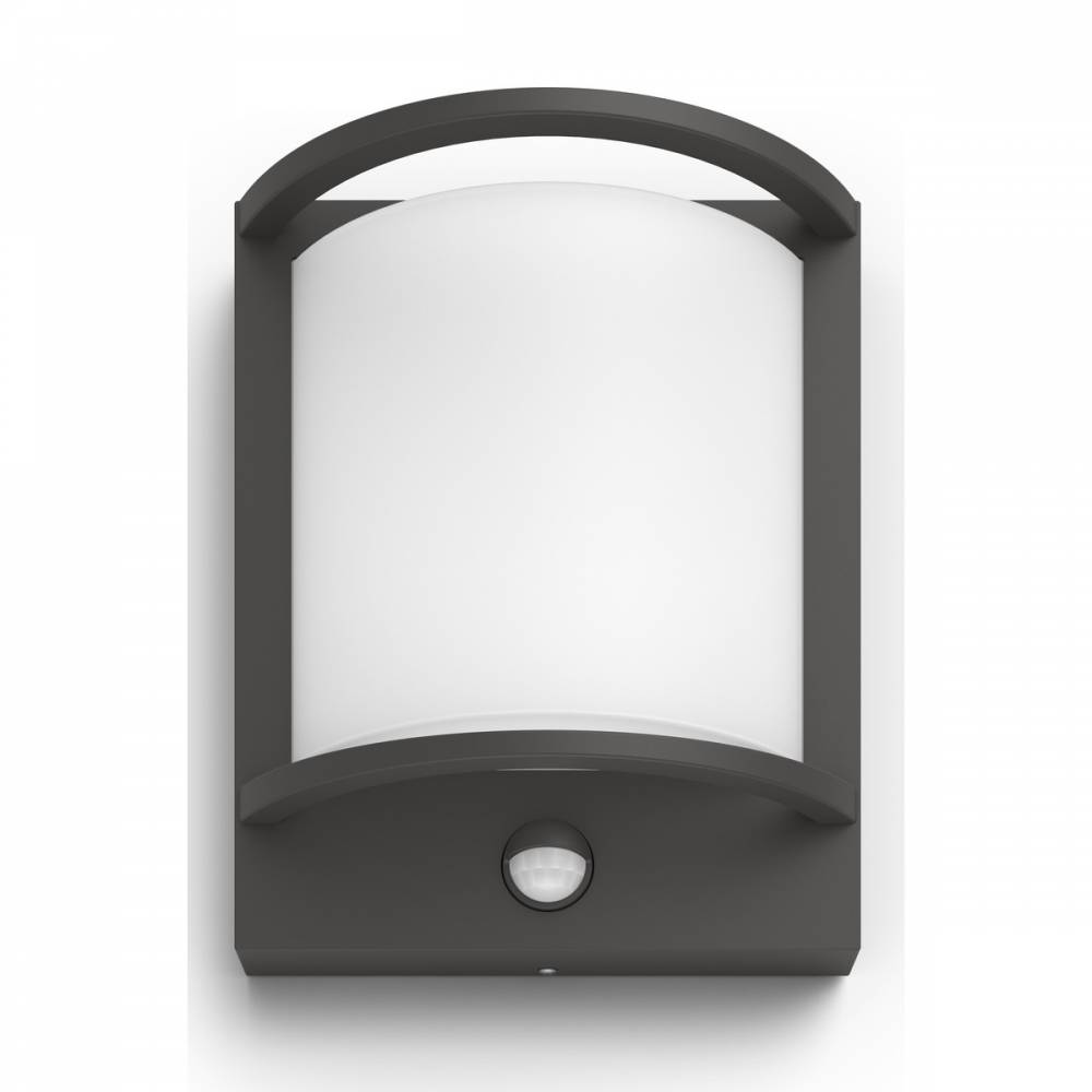 Philips 17392/93/P0 Samondra Vonkajšie nástenné LED svietidlo s čidlom 22 cm, antracit