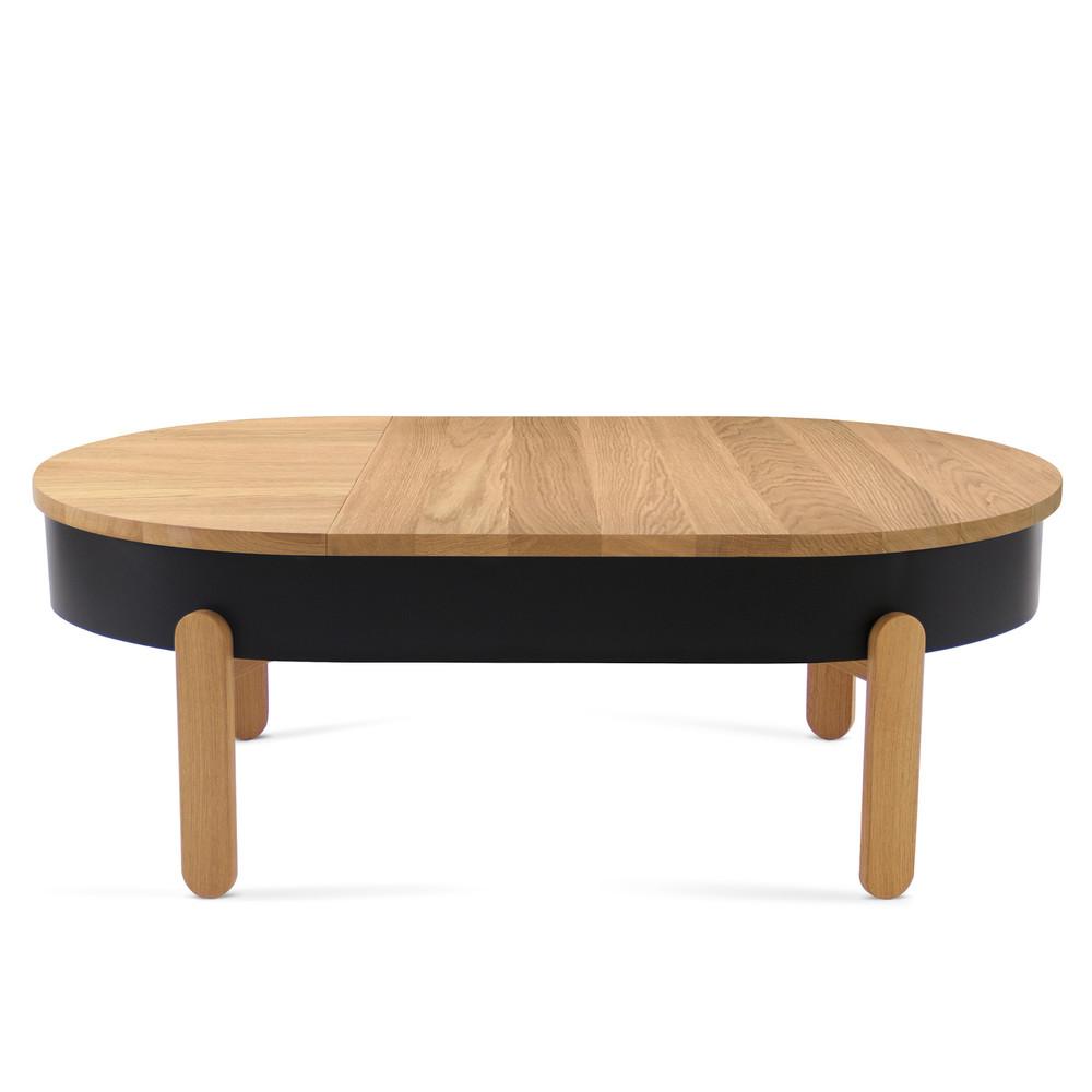 Prírodno-čierny odkladací stolík s úložným priestorom Woodendot Batea L