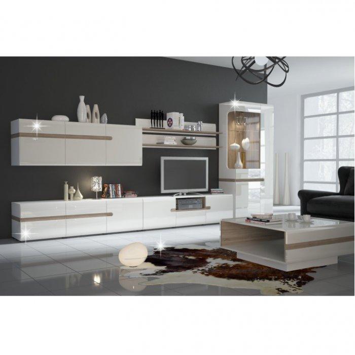 TEMPO KONDELA LYNATET obývacia izba - biela / biely vysoký lesk / dub sonoma truflový