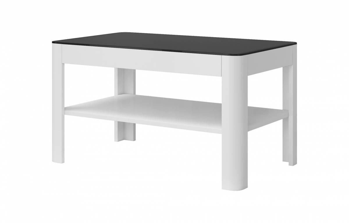 Konferenčný stolík Typ 99 (biela + čierne sklo)