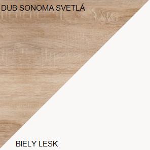 Šatníková skriňa VIKI 05   Farba: Dub sonoma svetlá / biely lesk