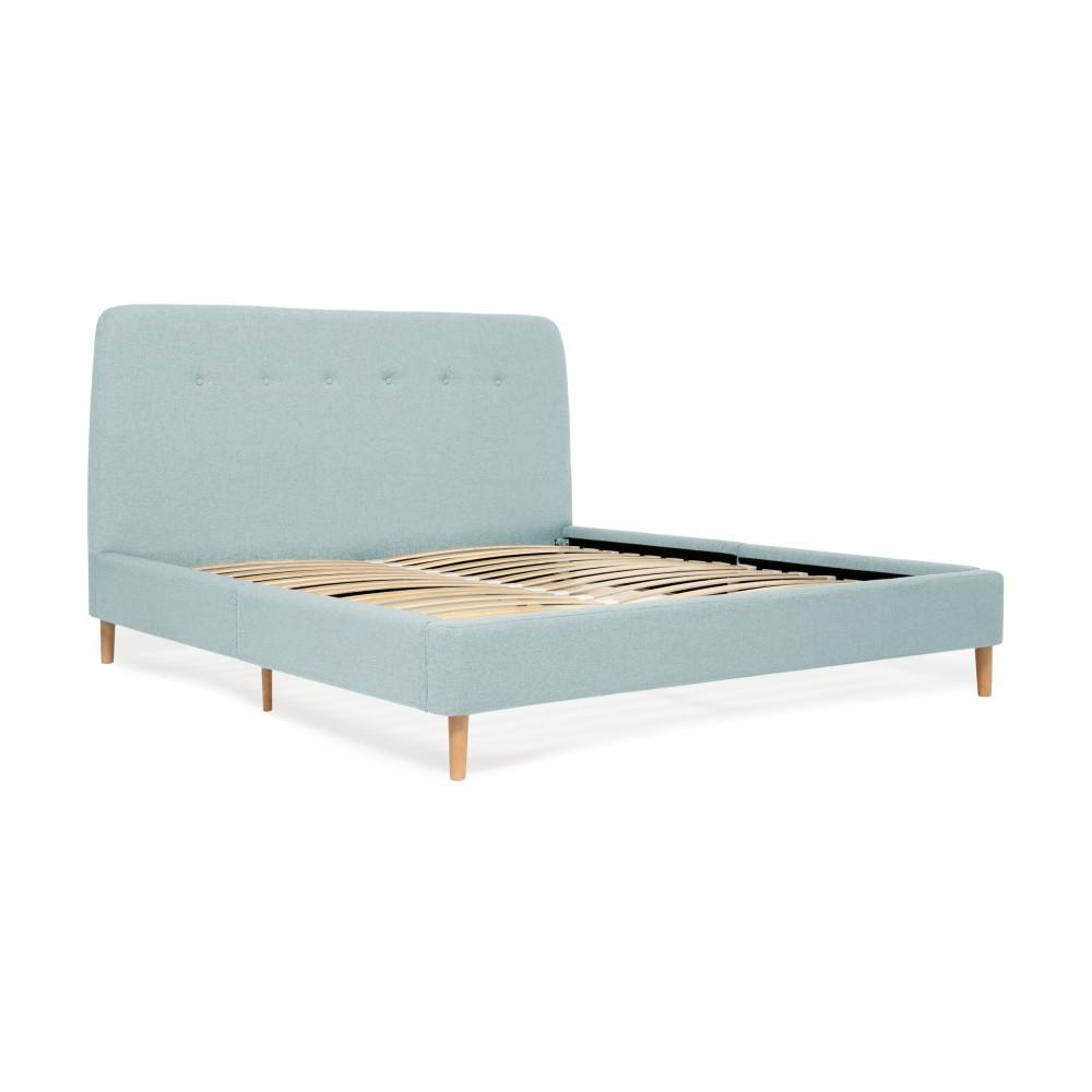 Tyrkysová dvojlôžková posteľ s drevenými nohami Vivonita Mae, 140×200 cm