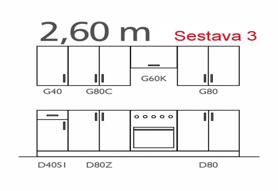 Kuchynská linka SAMANTA, zostava 3, sosna laredo/orech milano