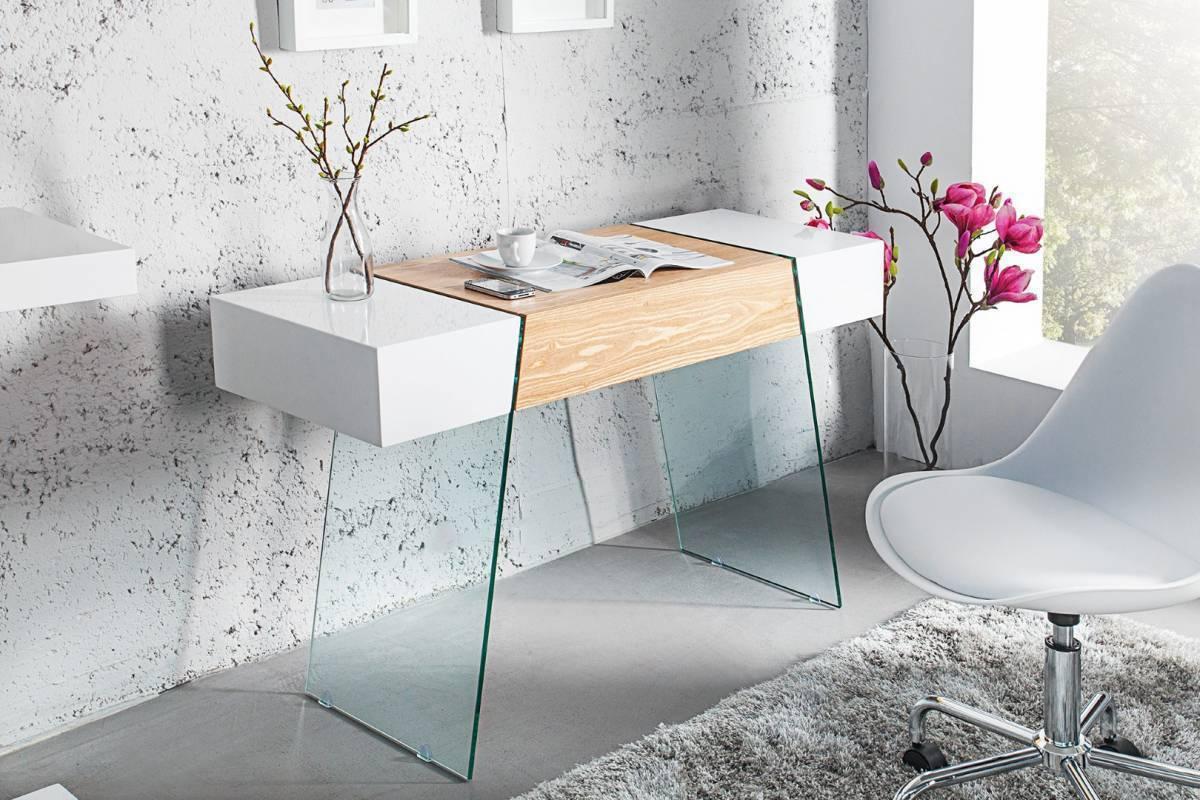 Písací stôl ANEX 120 cm - biela/prírodná