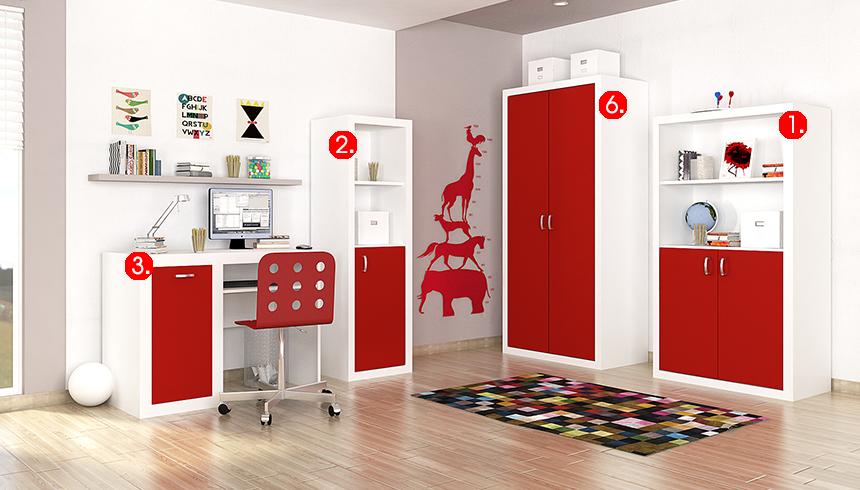 Detská izba FILIP / COLOR   Farba: biela / červená