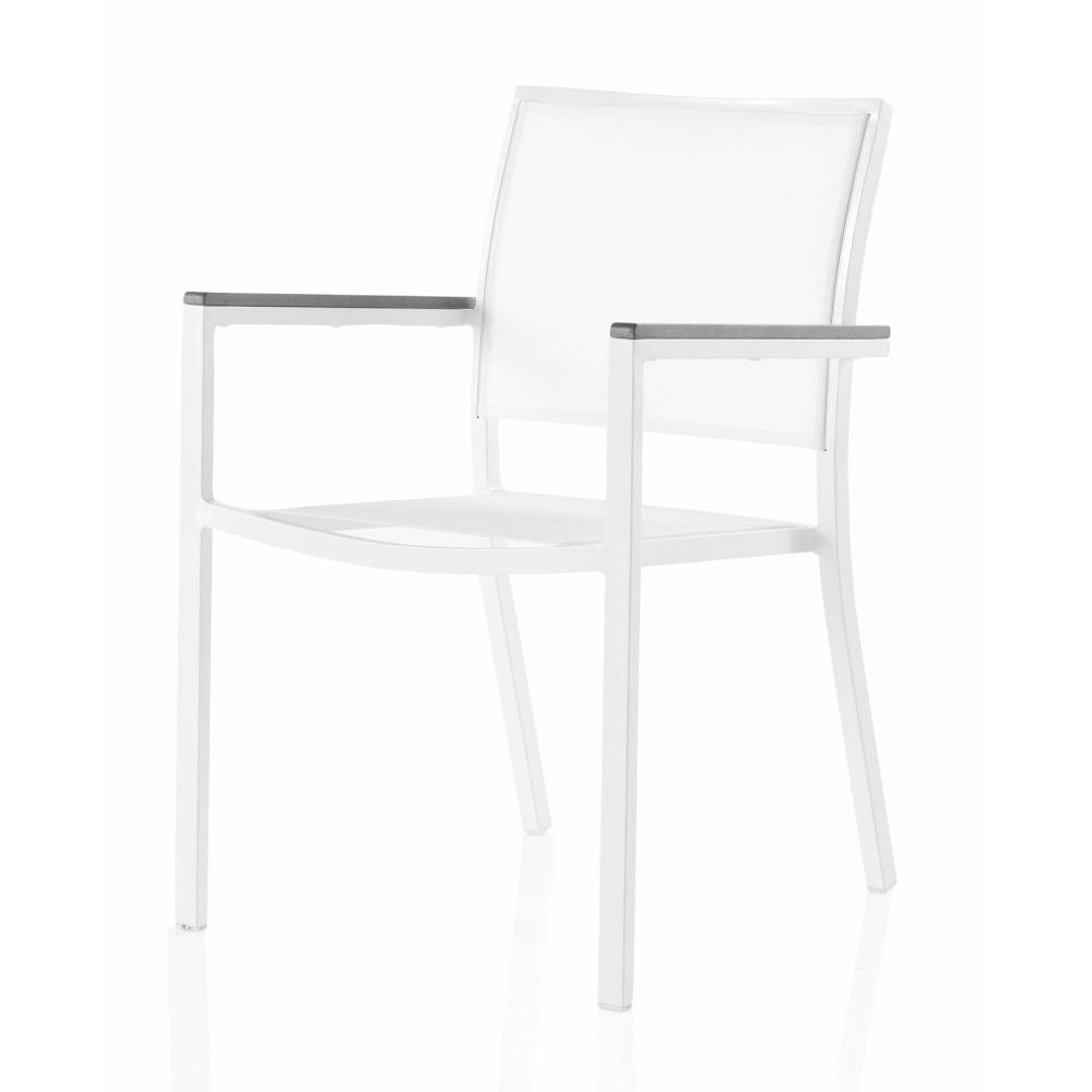 Záhradná stolička s opierkami a sivými detailmi Geese Jenny