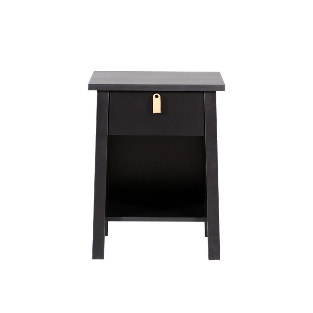 Čierny drevený nočný stolík Wermo Saima