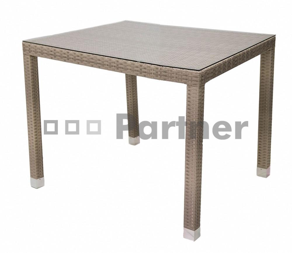 Záhradný stôl Napoli 80 (sivobéžová) (um. Ratan) *výpredaj