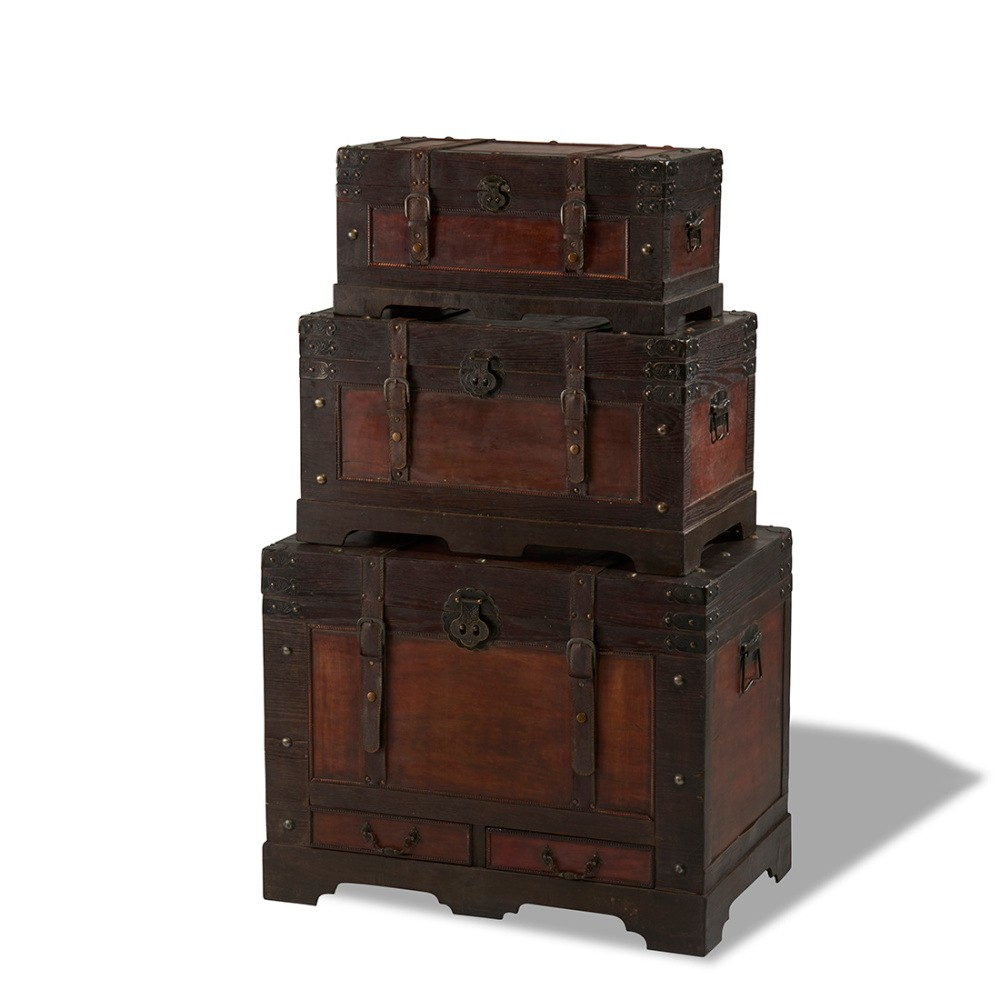 Sada 3 drevených dekoratívnych truhlíc Knuds Trunks Medieval