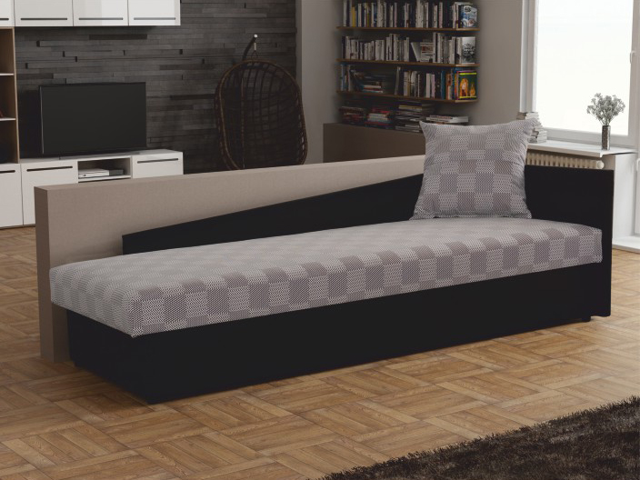 Jednolôžková posteľ (váľanda) 80 cm Judit (sivá + čierna) (s úl. priestorom) (P)