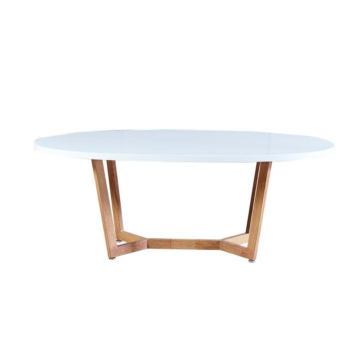 Konferenčný stolík, MDF/kov, biela HG/dub sonoma, GLOSY