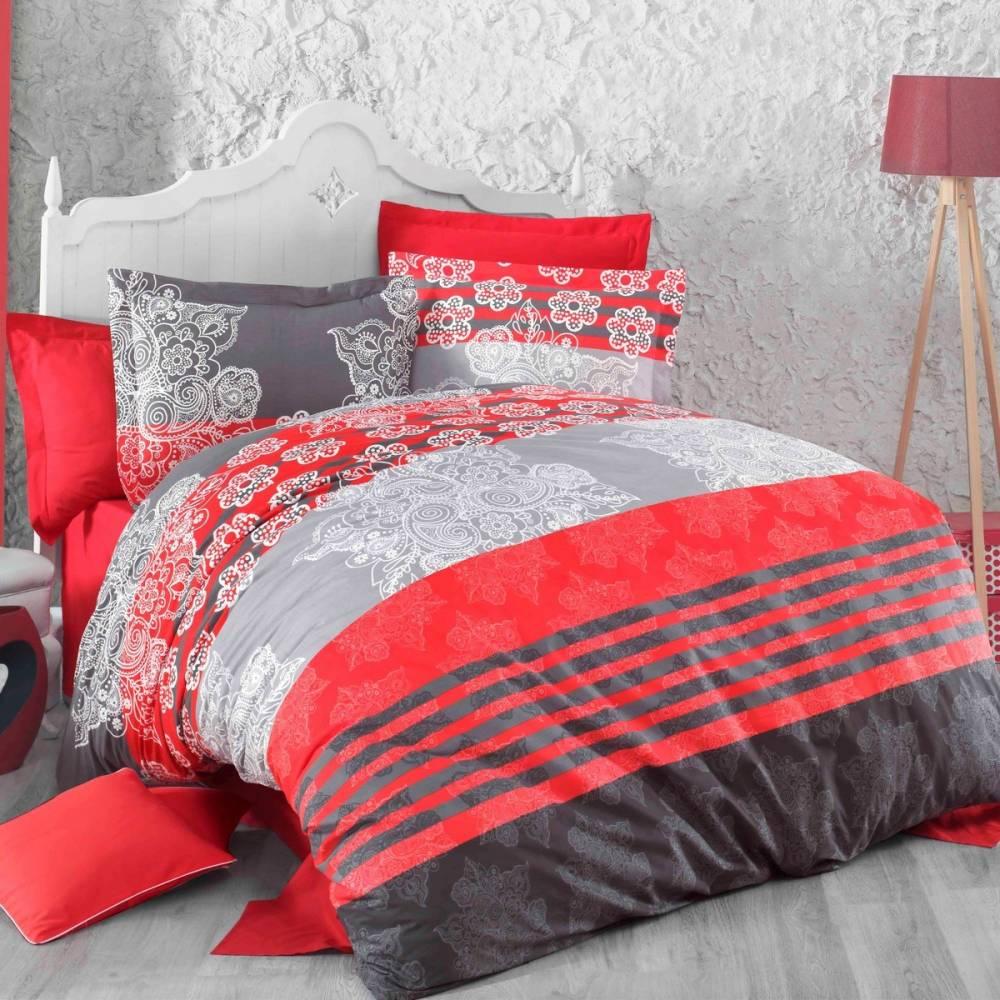 Kvalitex Bavlnené obliečky Delux Stripes červená, 220 x 200 cm, 2 ks 70 x 90 cm