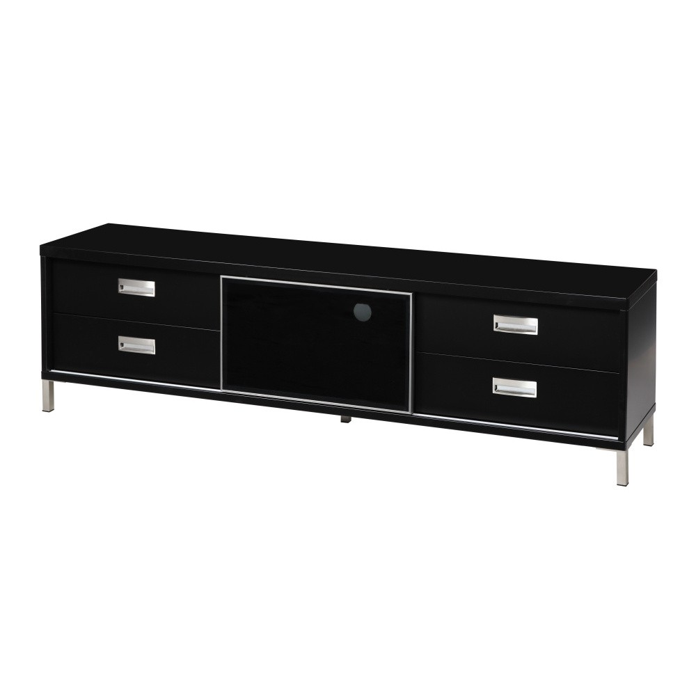 Čierny televízny stolík so 4 zásuvkami Folke Satyr, výška 51 cm