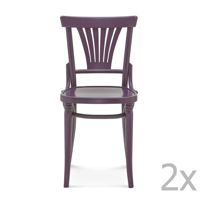 Sada 2 fialových drevených stoličiek Fameg Mathias