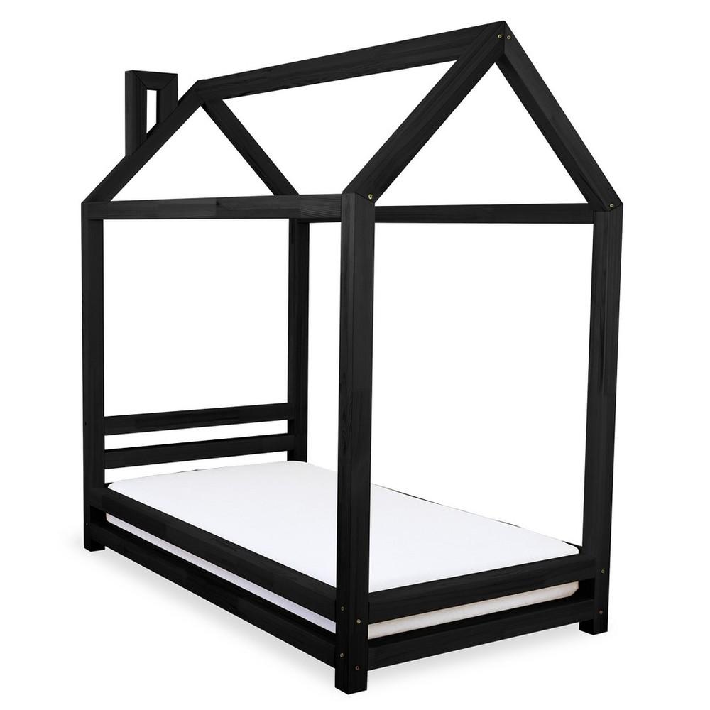 Detská čierna posteľ zo smrekového dreva Benlemi Happy, 80 × 160 cm