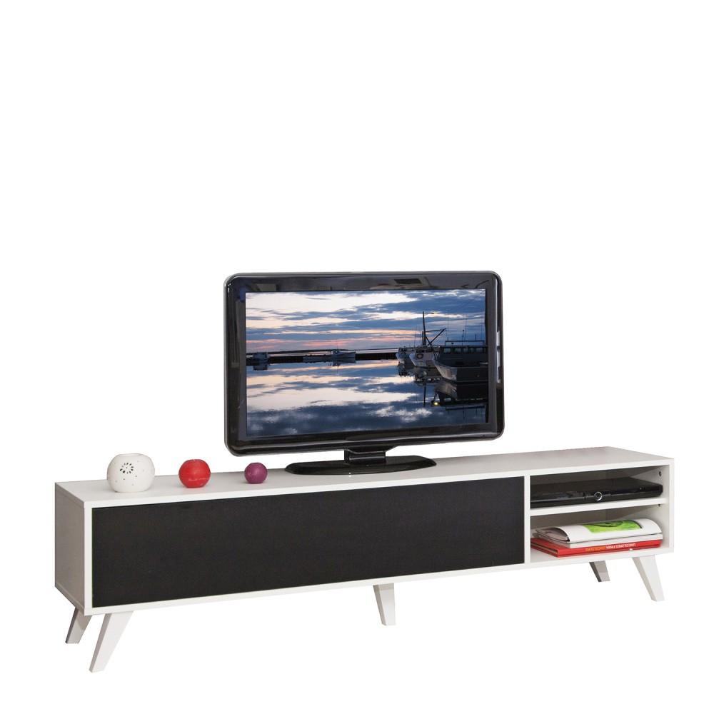 Čierny televízny stolík s bielym korpusom Symbiosis Prism