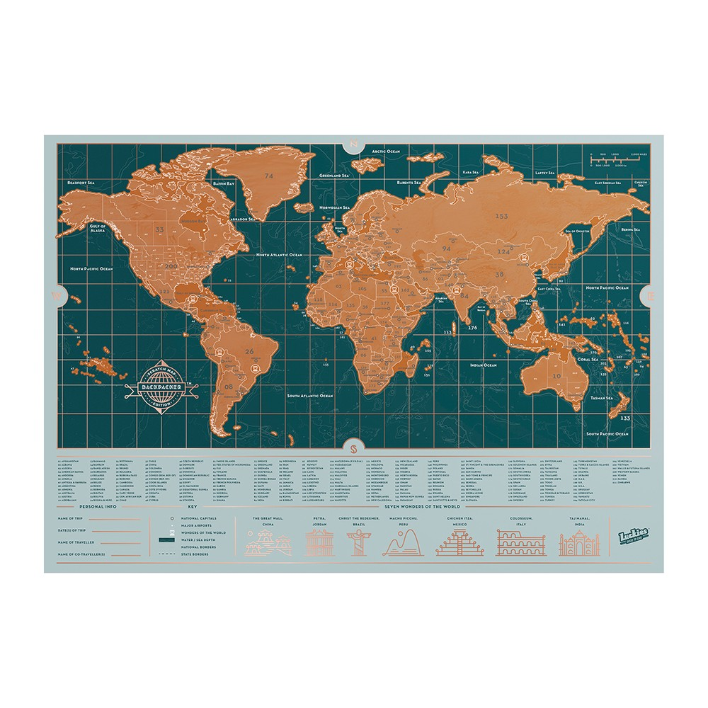 Stieracia mapa sveta Luckies of London Backpacker Edition