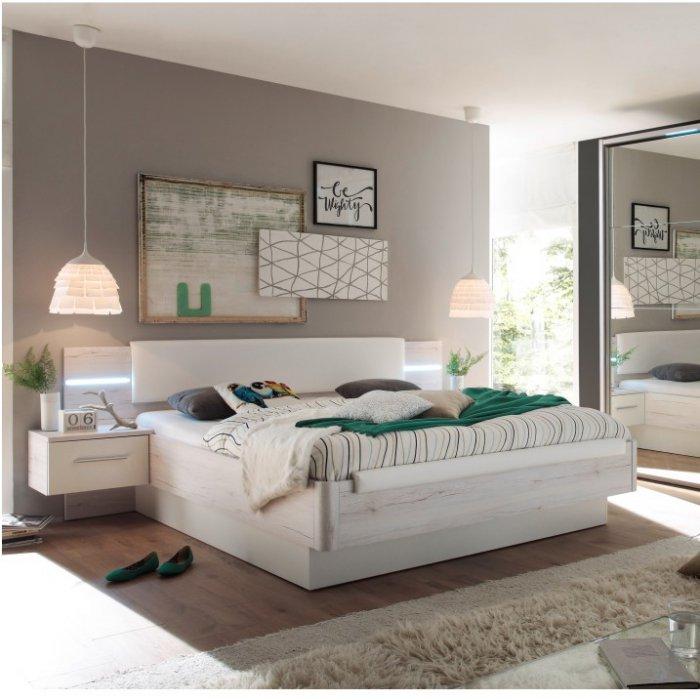 TEMPO KONDELA KENTUCKY 180 manželská posteľ + 2x nočný stolík - dub biely / biela