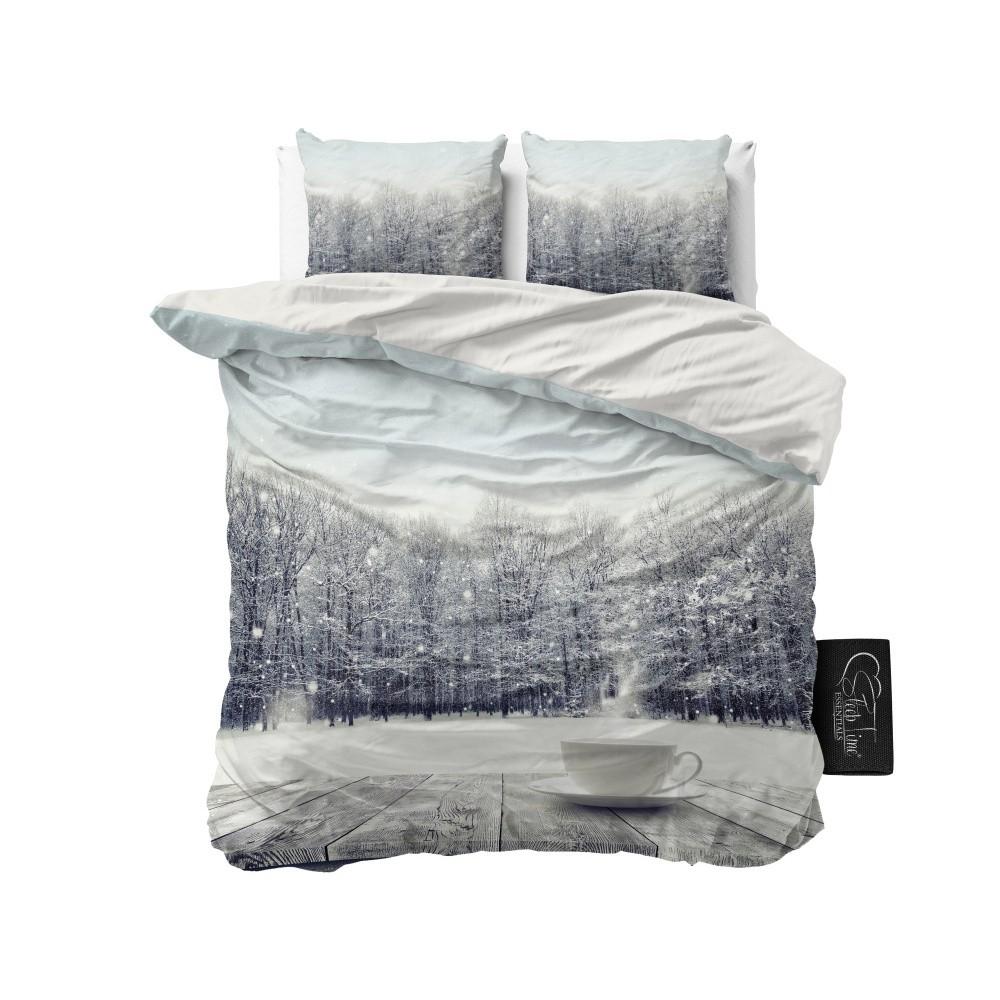 Obliečky z mikroperkálu Sleeptime Winter Coffee, 160 x 200 cm