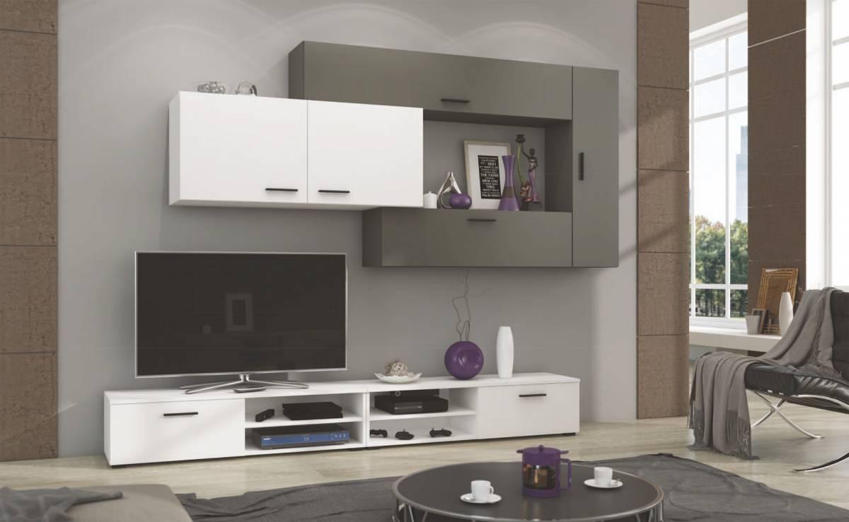 Moderná obývacia stena JIME, biela/grafit