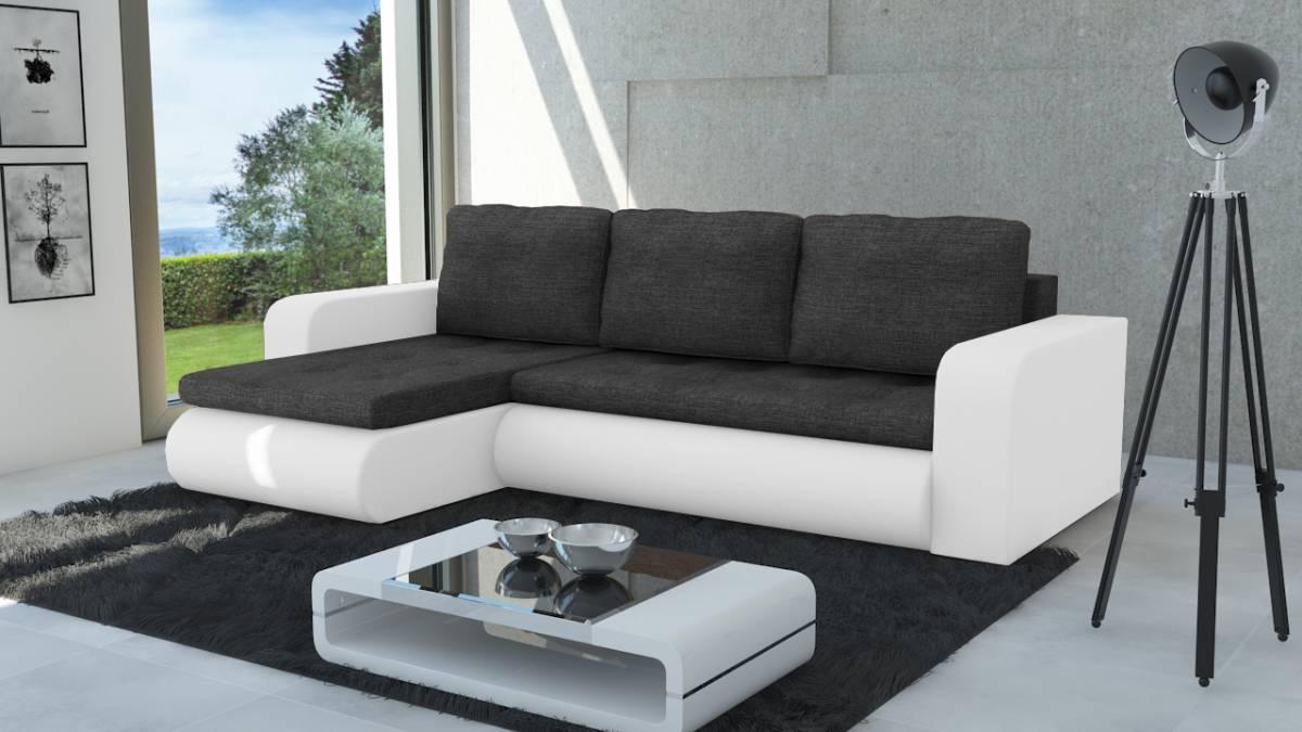 Moderná sedačka NEWYORK čierna/biela