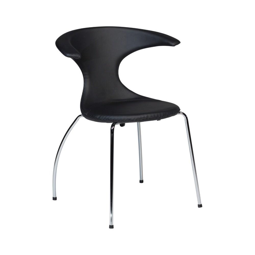 Čierna jedálenská stolička s pochrómovanou podnožou DAN–FORM Flair