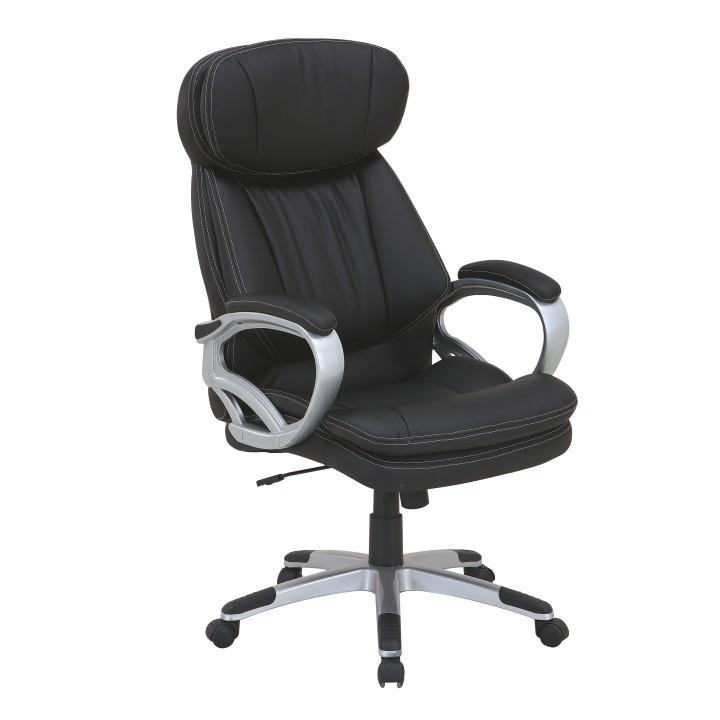 Kancelárske kreslo, ekokoža čierna + plast, ROTAR