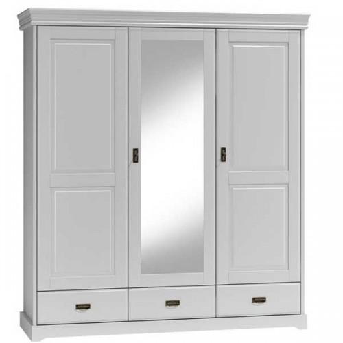 Biely nábytok Šatníková skriňa 3D Toskania so zrkadlom a zásuvkami, biela, masív, borovica, TAHOMA