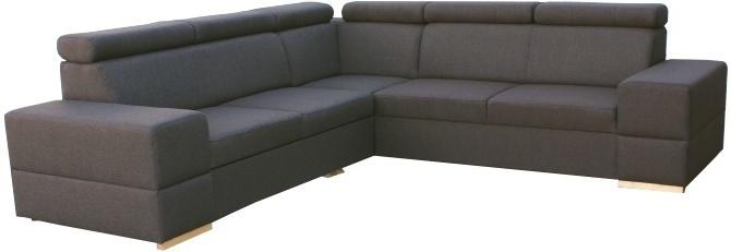 Rohová rozkladacia sedacia súprava s úložným priestorom, ľavé prevedenie, látka tmavohnedá, MONAKO