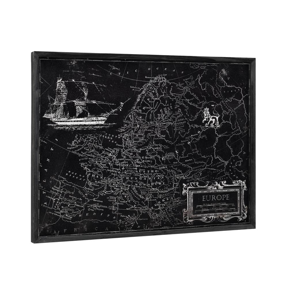 [art.work] Dizajnový obraz na stenu - hliníková doska - mapa Európy - zarámovaný - 60x80x2,8 cm