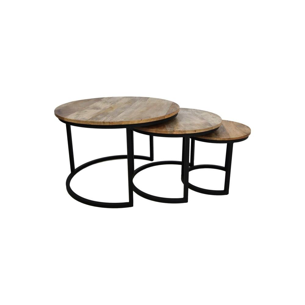 Sada 3 konferenčných stolíkov z mangového dreva HSM collection District