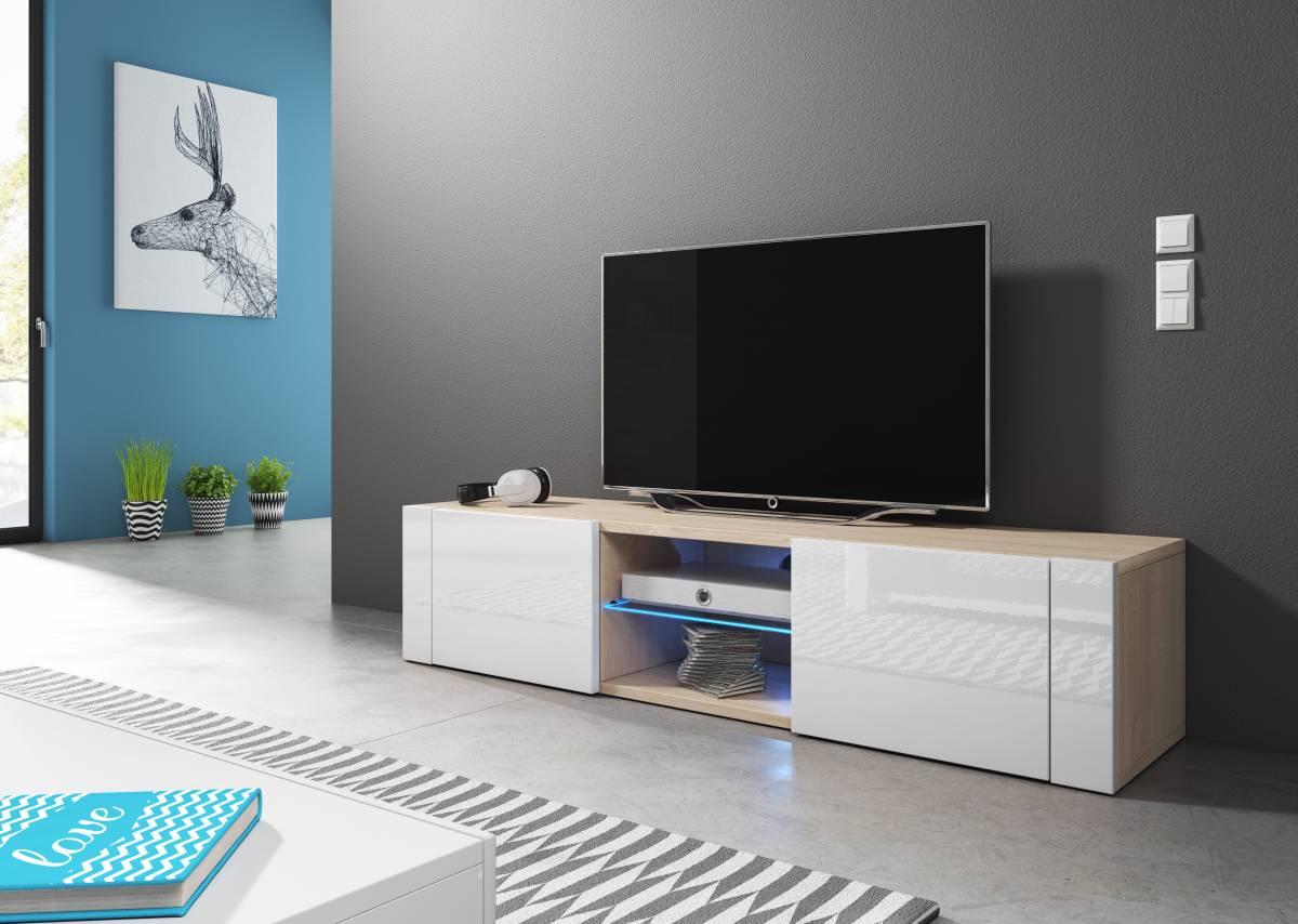 TV stolík/skrinka Hit (biely lesk + dub sonoma)