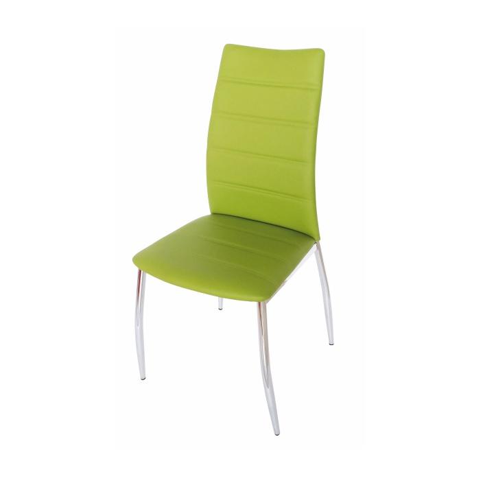 TEMPO KONDELA DELA jedálenská stolička - zelená / chróm