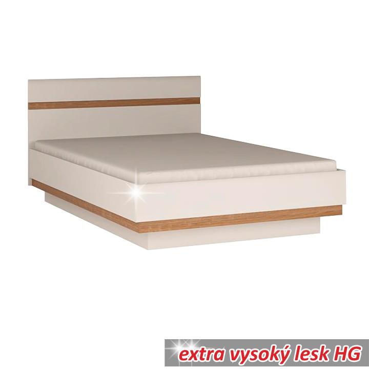 TEMPO KONDELA LYNATET 92 160 manželská posteľ - biela / biely vysoký lesk / dub sonoma truflový