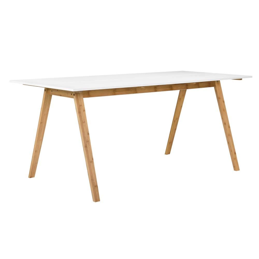 [en.casa]® Designový bambusový jedálenský stôl - 180 x 80 cm - biely bambus