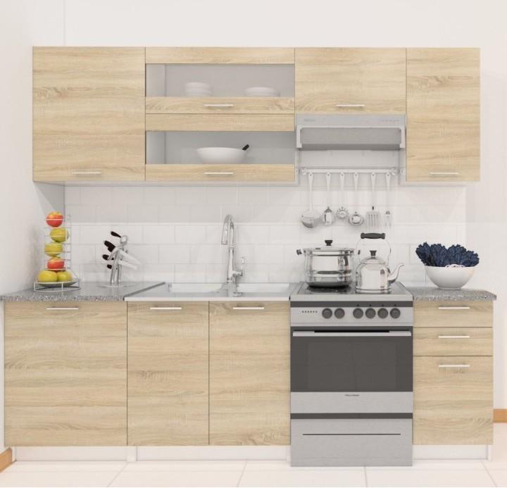 TEMPO KONDELA FABIANA 240 kuchyňa - dub sonoma / biela