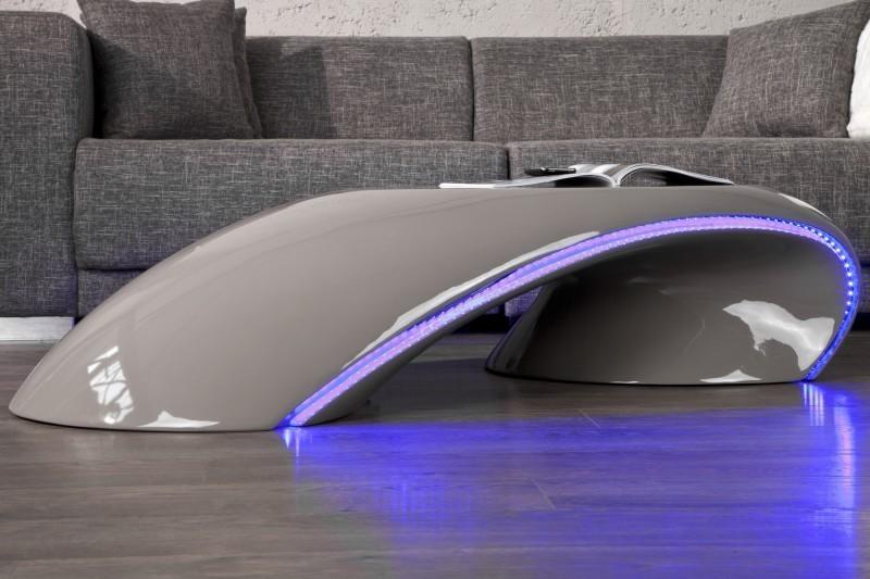 Konferenčný stolík CARVIN LED - sivá