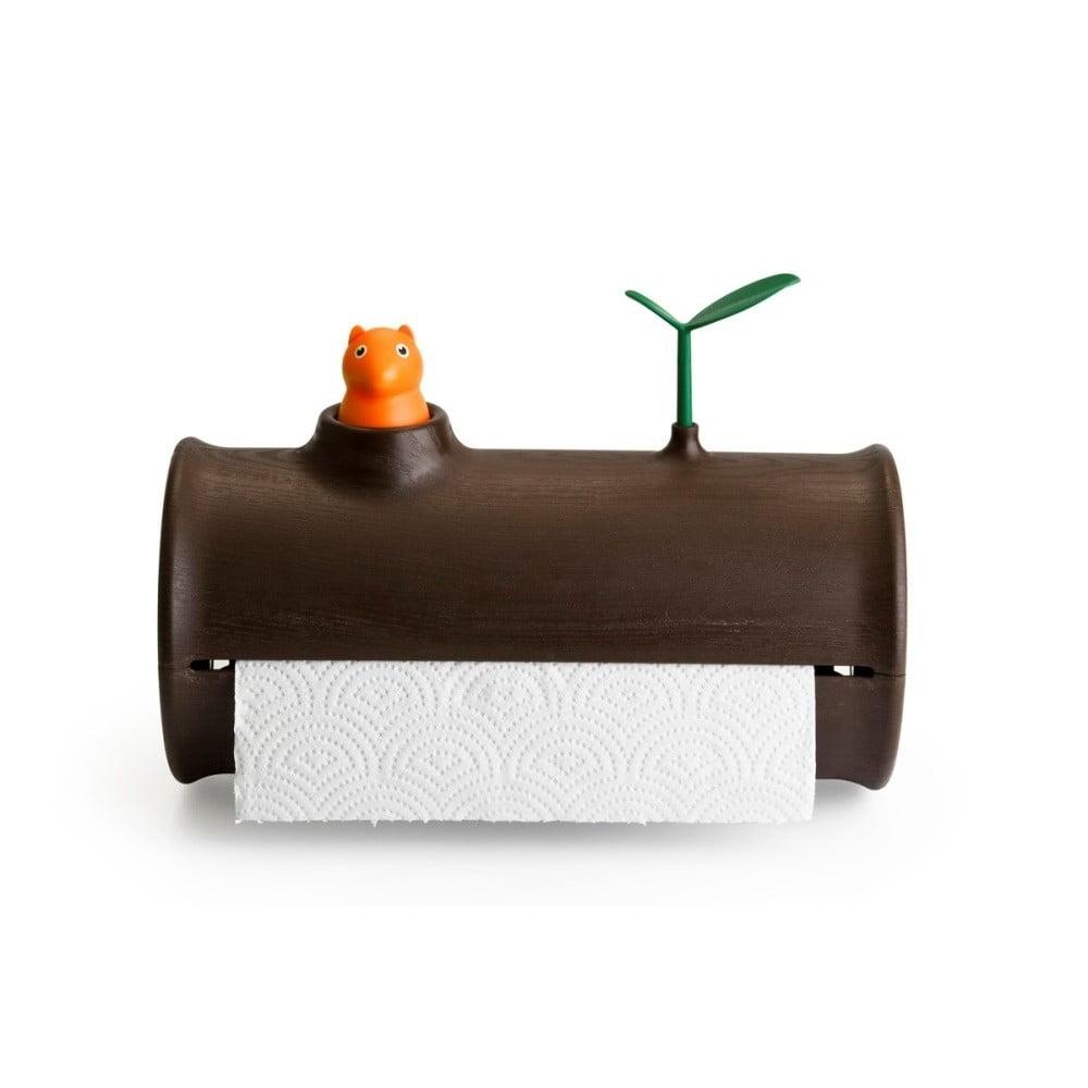 Hnedý stojan na papierové utierky Qualy Log&Roll