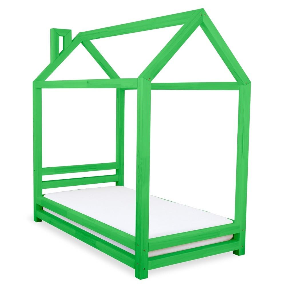 Detská zelená posteľ zborovicového dreva Benlemi Happy, 90x160cm