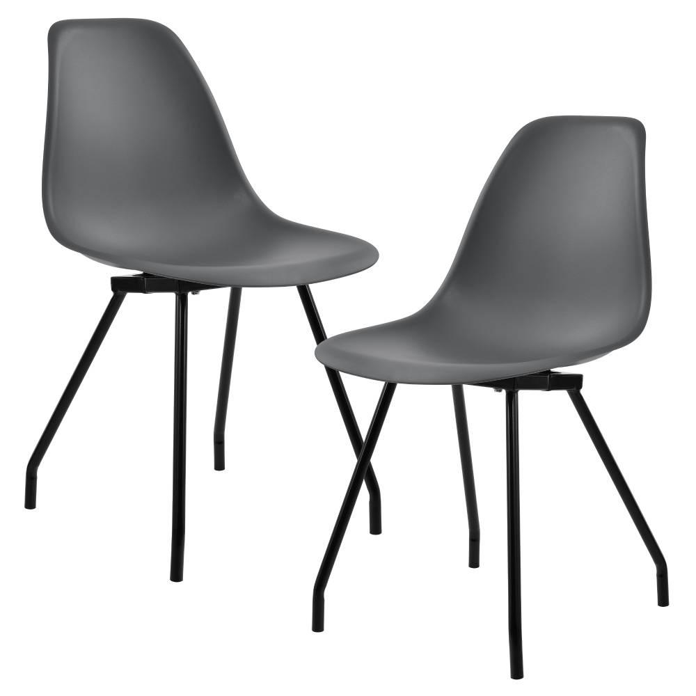 388090b95017  en.casa ® Sada dizajnových stoličiek - 2 kusy - tmavo sivé